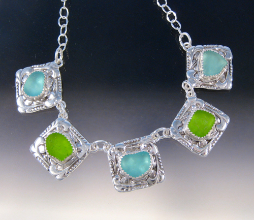 P3778 - Vintage Button, Aqua and lime necklace by Art of Sea Glass