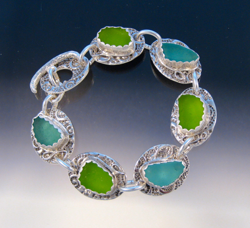 B191 - Fabulous aqua and lime bracelet