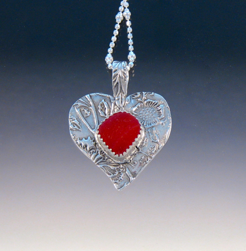 P4462 - Super bright red sea glass heart (large view)