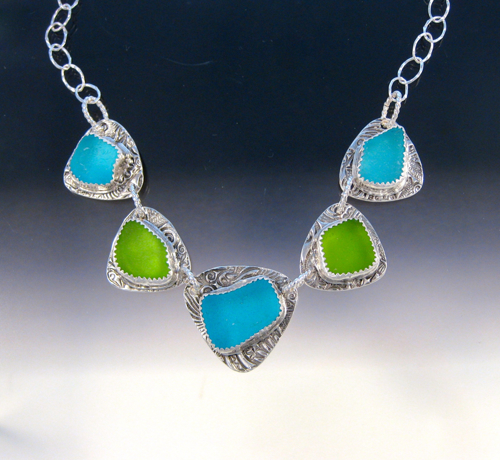 P5080 - Turquoise and lime green necklace by Art of Sea Glass