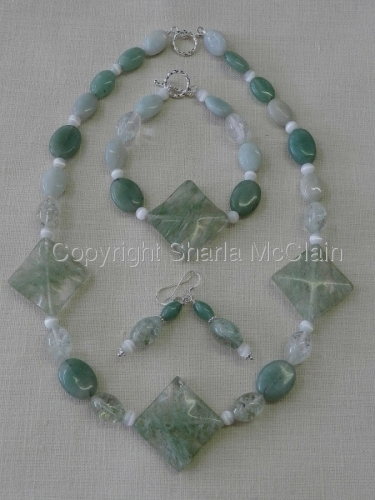 Quartz, Adventurine, and Amazonite, Necklace, Bracelet, Earrings