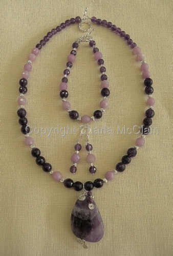 Amethyst, Necklace, Bracelet and Earrings