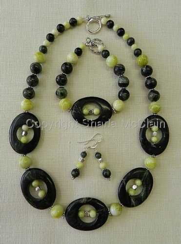 Kambara Jasper, Yellow Jade, Necklace, Bracelet, and Earrings