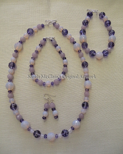 Lavender Jade, Pink Opalite Necklace , Bracelets, and Earrings