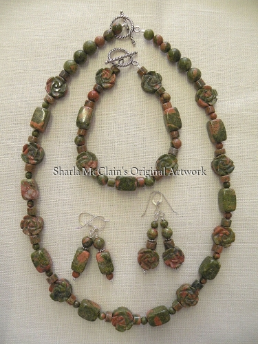 Unakite, Necklace, Bracelet, and Earrings