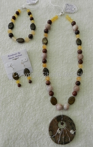 Burma, Red Picture Jasper, Bronzite, Moonstone Necklace Bracelet, & Earrings