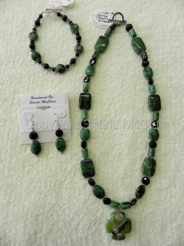 Ruby Zoisite, Black Onyx, Necklace, Bracelet & Earrings