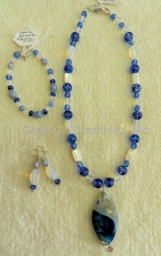 Blue Rhonodite, Opalite, Crackled Quartz, Necklace W/Agate Pendant, Bracelet & Earrings