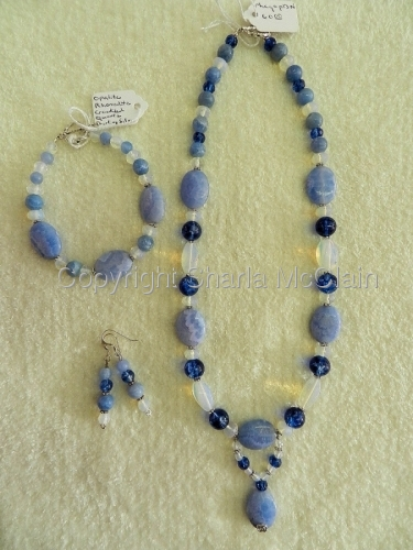 Blue Rhonodite, Opalite, Crackled Quartz, Necklace, Bracelet & Earrings