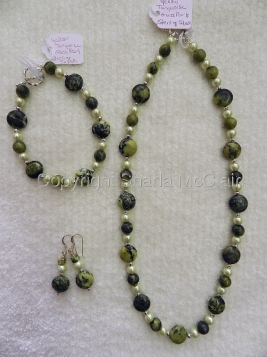 Yellow Green Turquoise, Glass Pearls (man made), Necklace, Bracelet & Earrings
