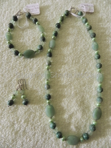 Adventurine, Glass Pearls, Chinese Jade Necklace Bracelet & Earrings