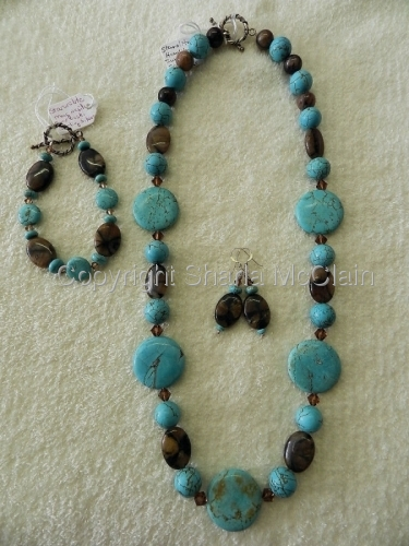 Howlite,Staurolite, Swarovski Glass, Necklace, Bracelet & Earrings