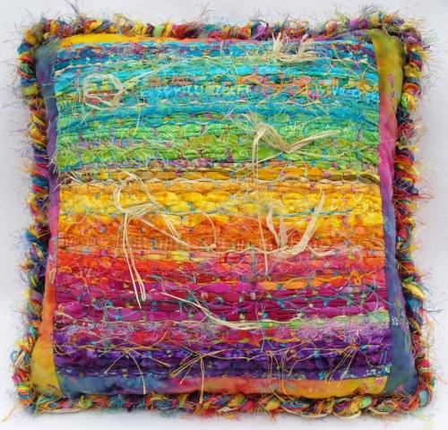Bright Batik Pillow by N. Faris