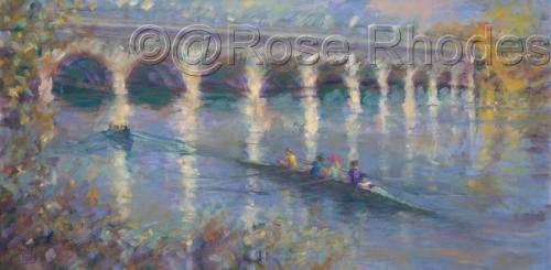 Rowing practice by Belle Isle Bridge (thumbnail)