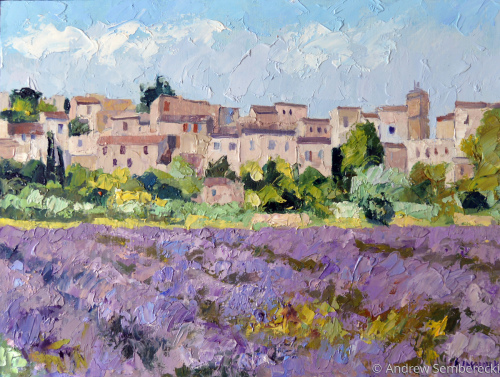 Lavender on the background of the city