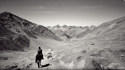 A lone rider on a trail in the Andes Mountains