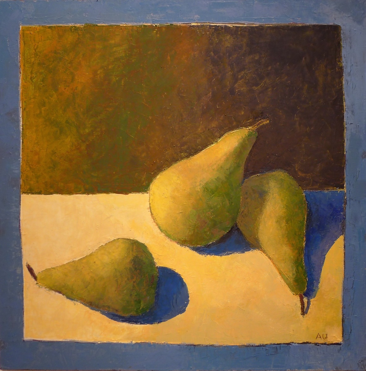 Three pears, blue frame (large view)