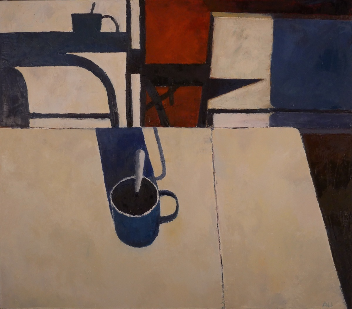 Still life with blue mug and shadows (large view)
