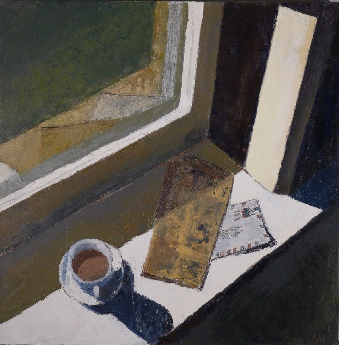 Window sill with coffee cup, newspaper and envelope, 2015 (large view)