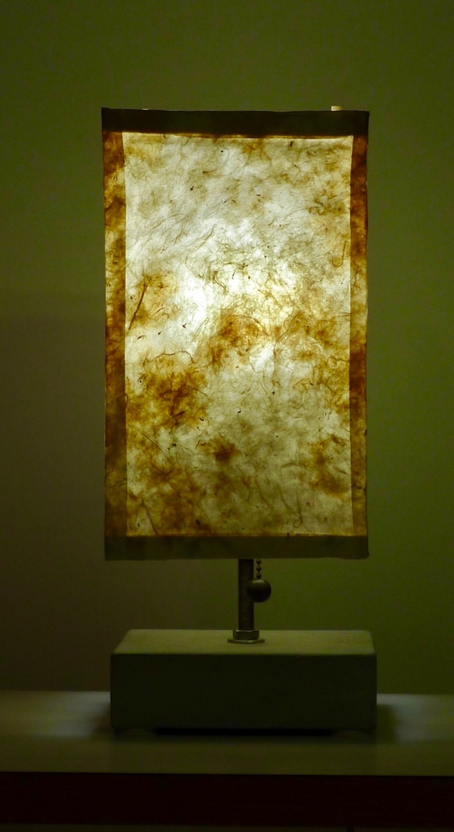 lantern: kozo paper,reed,concrete and steel (large view)