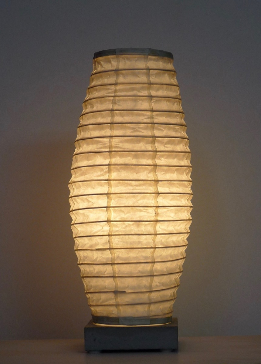 lantern: kozo paper, cane, concrete and steel (large view)