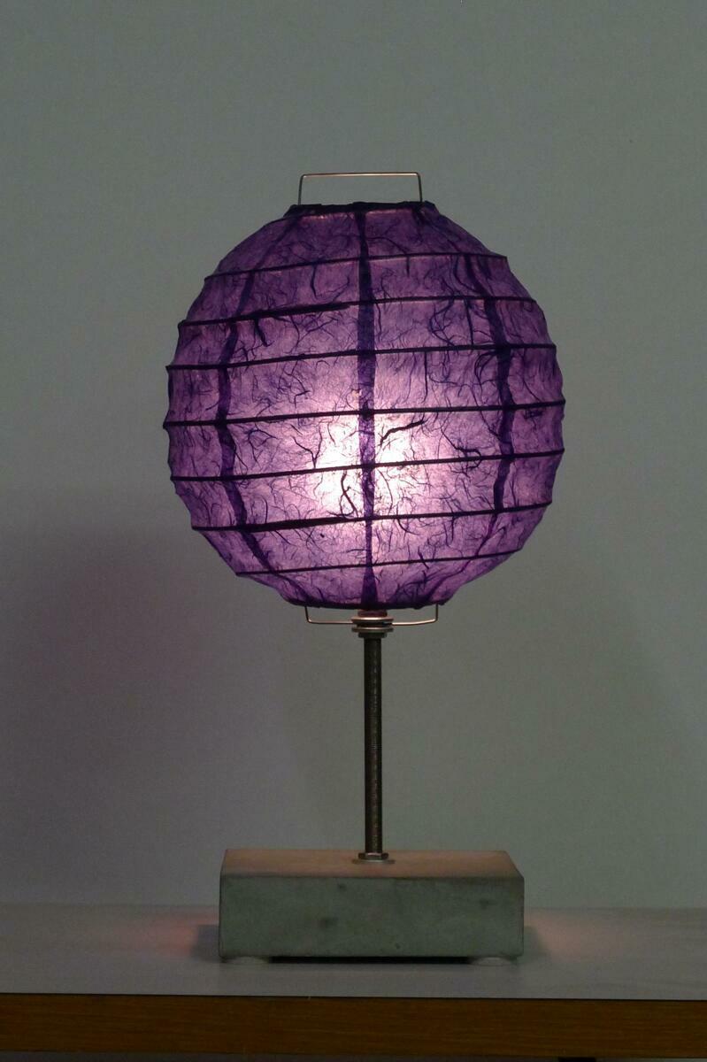 lantern: kozo (indigo), reed, concrete and steel (large view)
