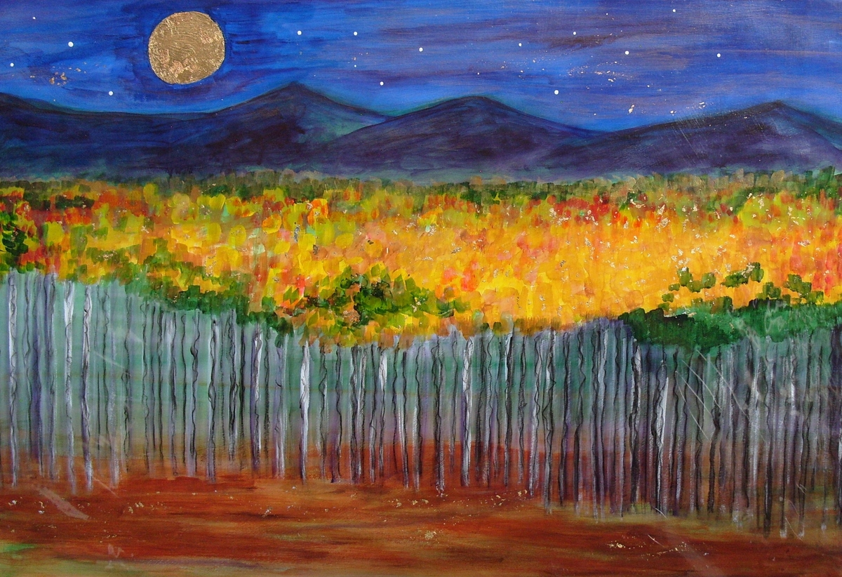 Full Moon Rising over the Sangre de Cristo & Ghost trees (large view)