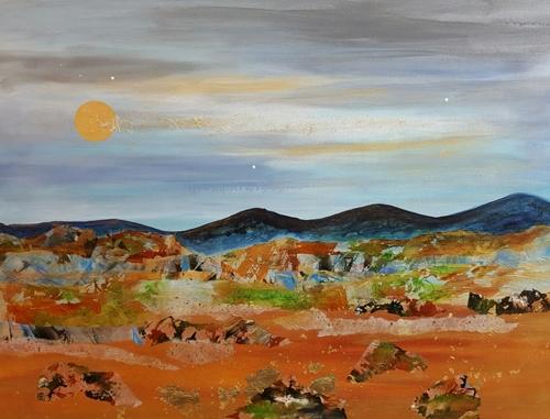 Desert Moon Rise by Aura Dez Fine Art