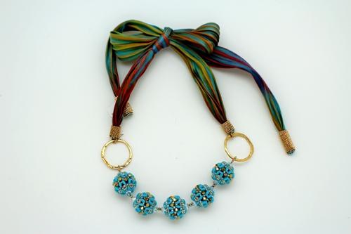Beaded Bead Necklace w/ Shibori Silk Ribbon