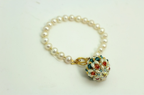 Freshwater Pearl Bracelet with Beaded Ball Charm