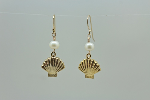 Freshwater Pearl Earrings with Shell Fan Drop by Attitude by Austin
