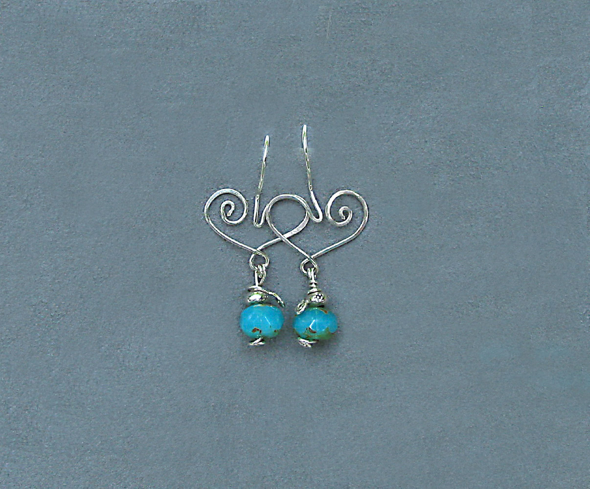 Heart Earrings with Turquoise Glass Drops (large view)