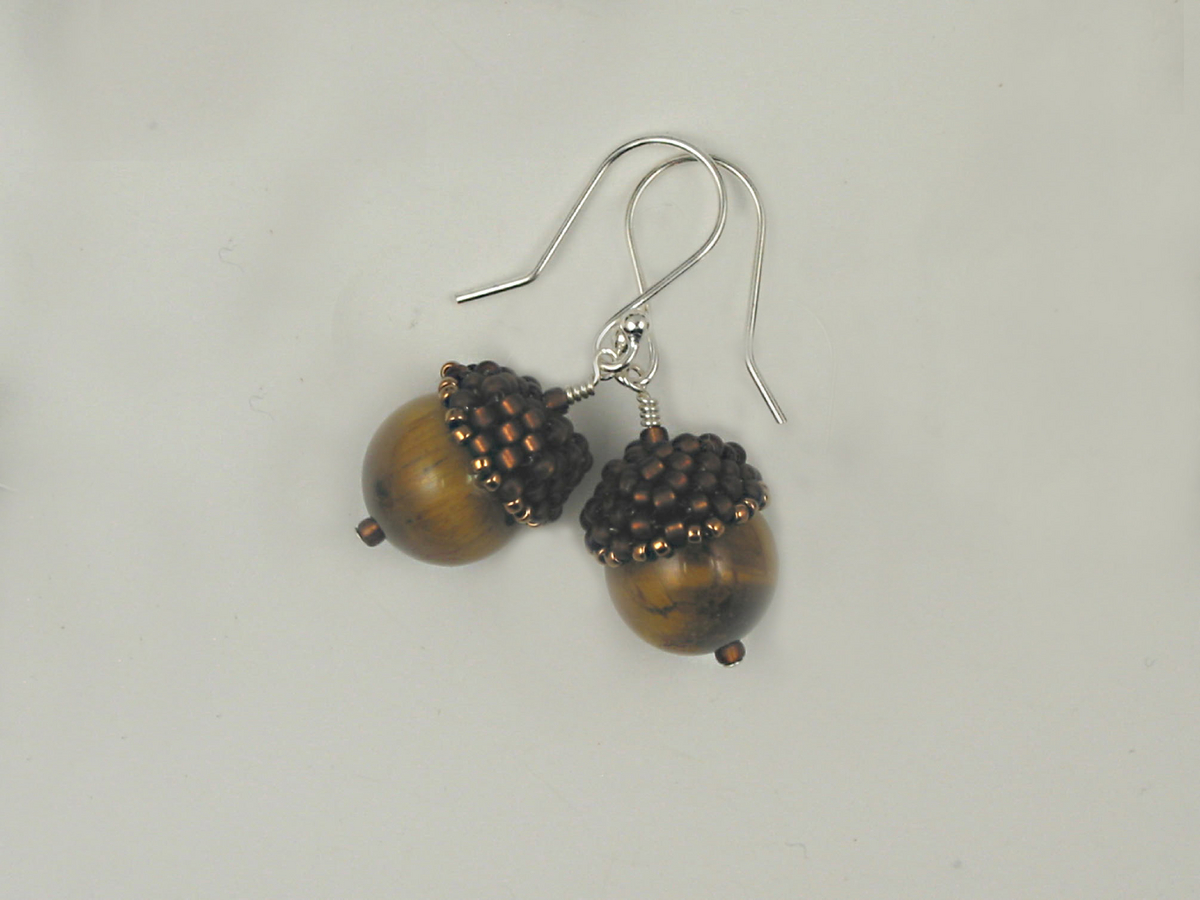 Acorn Earrings, brown and tiger eye (large view)