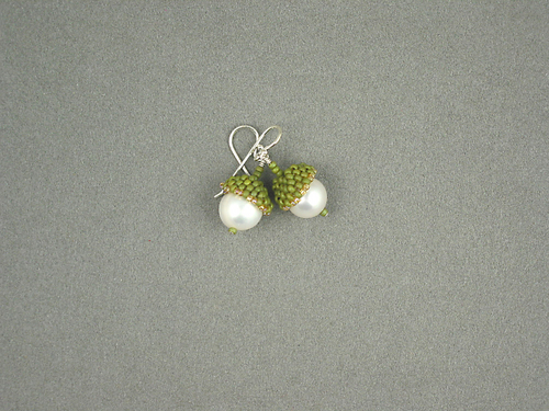 Acorn Earrings, Pearl