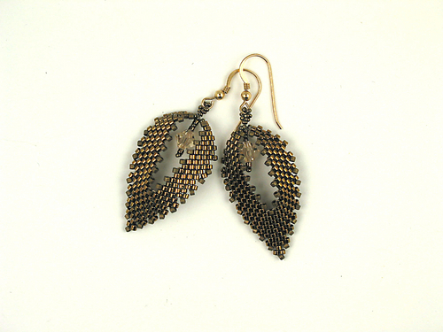 Leaf Earrings, Metallic Bronze