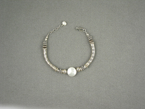 Noodle Bracelet, White Pearl by Barb Richard