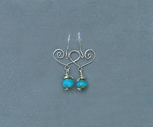 Heart Earrings with Turquoise Glass Drops by Barb Richard
