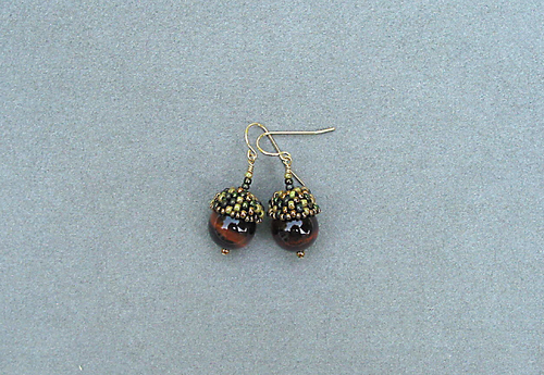 Acorn Earrings, Tiger Eye