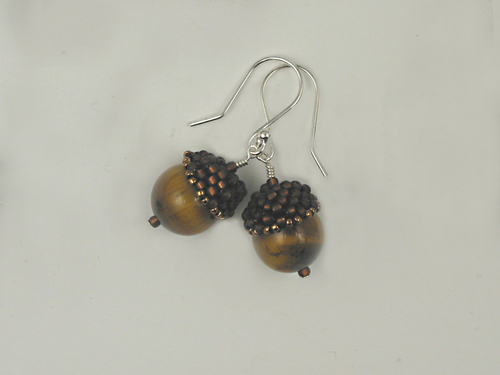 Acorn Earrings, brown and tiger eye