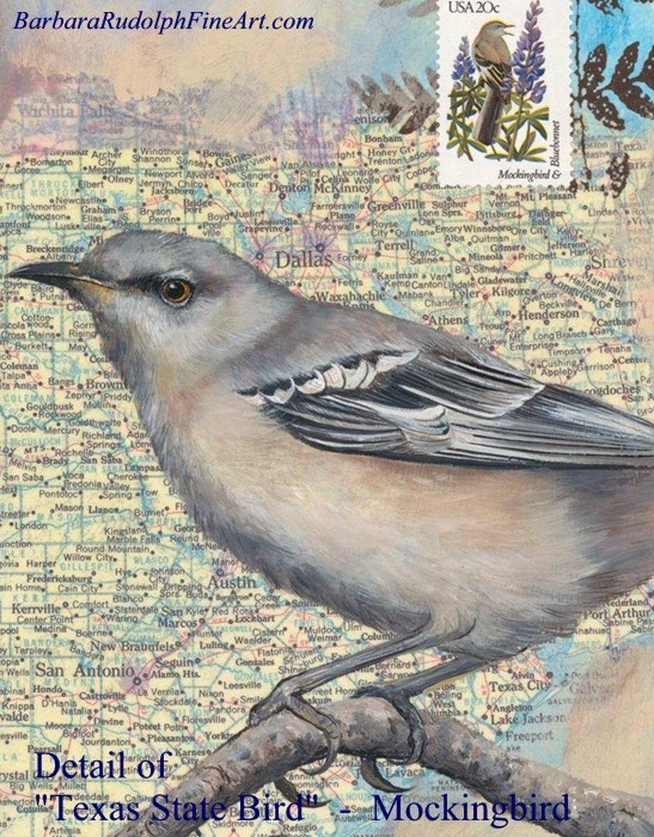 Painting Texas State Bird Mockingbird Original Art By Barbara Rudolph Fine Art