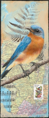 Painting of the state bird of New York, the Eastern Bluebird.  Painted over a vintage map of New York (large view)