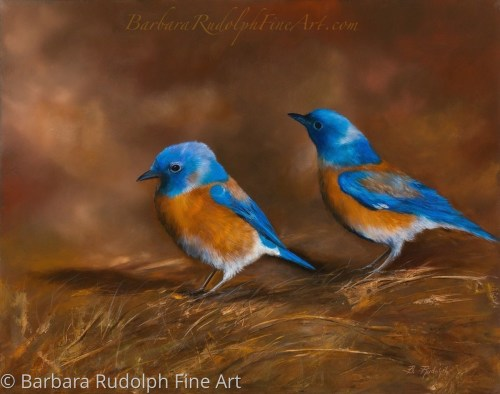 Bluebirds by Barbara Rudolph Fine Art