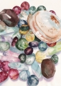 Close up watercolor of quartz, citrine, flurourite gemstones using genuine gemstone and natural pigment colors to enhance clarity of spirit (thumbnail)