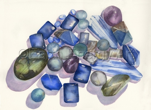 Watercolor painting to enhance body, mind, and spirit using genuine gemstone and natural pigments. (large view)
