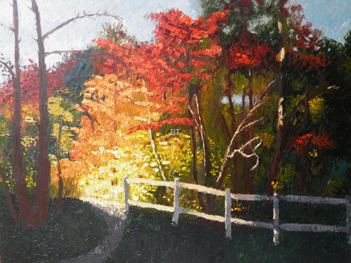 fall landscape with sunlit autumn colors in oil on canvas (large view)