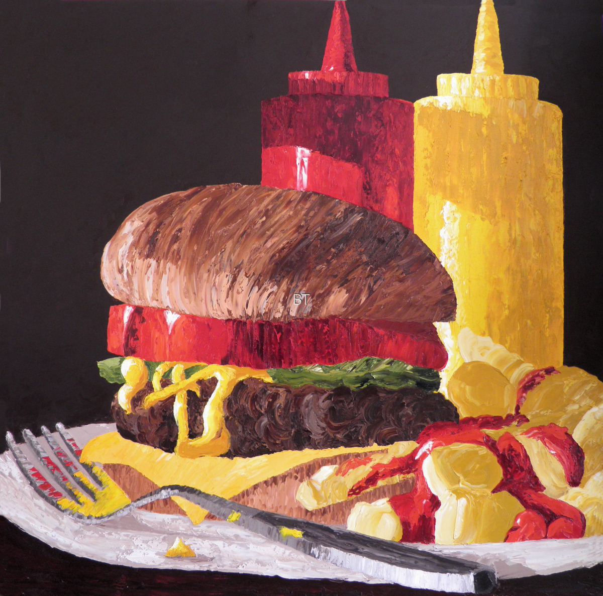 oil on canvas of burger and fries with ketchup and mustard bottles (large view)