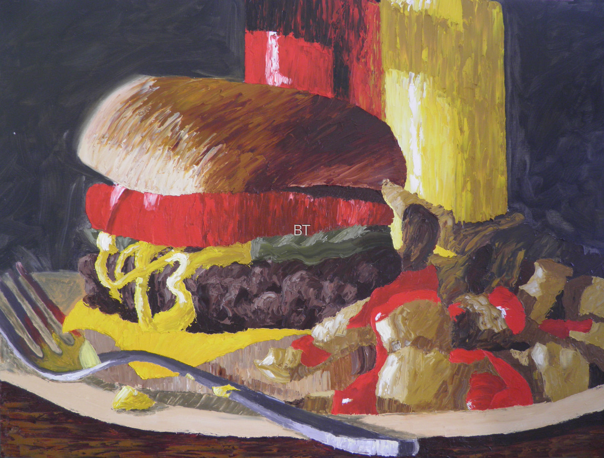 oil on canvas of Burger and Fries with coke (large view)