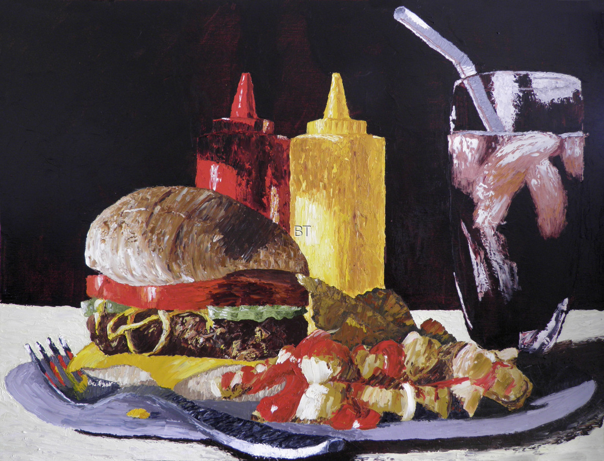 oil on canvas still life of cheeseburger with tomato and pickles and mustard and fries with ketchup and a glass of coke (large view)