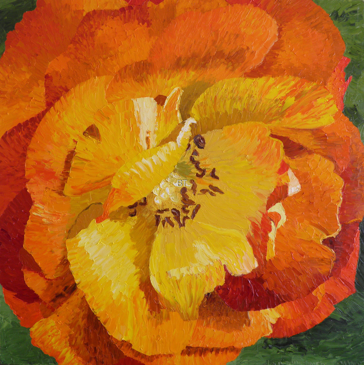 oil on canvas of orange and yellow rose from art of caregiving series (large view)