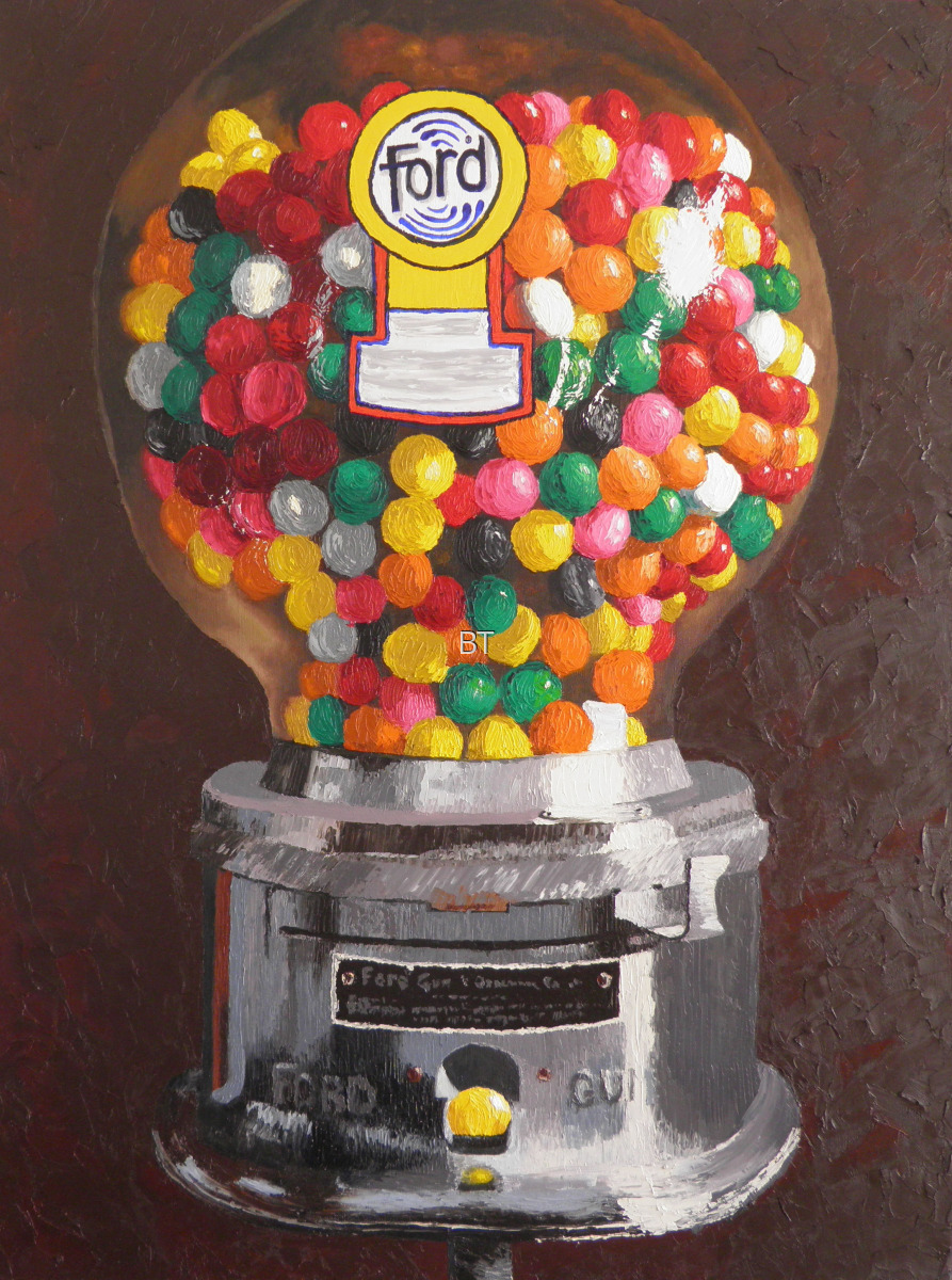 oil on canvas impasto of ford gumball machine with colorful gumballs (large view)